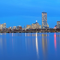 Stunning Boston skyline panorama photography from New England based award winning fine art photographer Juergen Roth. This panorama photo images shows familiar Boston landmarks such as the Prudential Center and 200 Clarendon office building formerly known as John Hancock Tower in the Back Bay, the Massachusetts State House and the newly constructed Millennium Tower in Beacon Hill as seen from Cambridge, MA Memorial Drive one of Boston's best photo locations. <br />