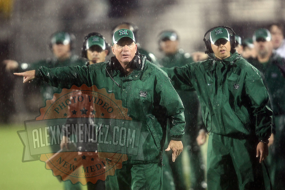 Marshall Head Coach Doc Holliday screams at the officials about a call during an NCAA football game between the Marshall Thundering Herd and the Central Florida Knights at Bright House Networks Stadium on Saturday, October 8, 2011 in Orlando, Florida. (Photo/Alex Menendez)