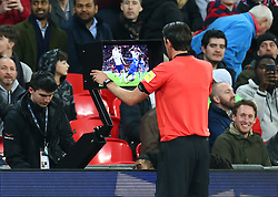 March 27, 2018 - London, England, United Kingdom - Referee Deniz Aytekin of Germay looking at the VAR to decided whether it's a penalty during International Friendly match between England against Italy at Wembley stadium, London, England on 27 March 2018. (Credit Image: © Kieran Galvin/NurPhoto via ZUMA Press)