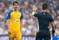 Apoel's Praxitellis Vouros protest to the referee during UEFA Champions League match between Real Madrid and Apoel at Santiago Bernabeu Stadium in Madrid, Spain September 13, 2017. (ALTERPHOTOS/Borja B.Hojas)