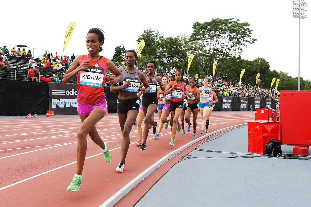 Samsung Diamond League adidas Grand Prix track & field; women's 5000 meters, Werknesh Kidane, ETH, leads field,