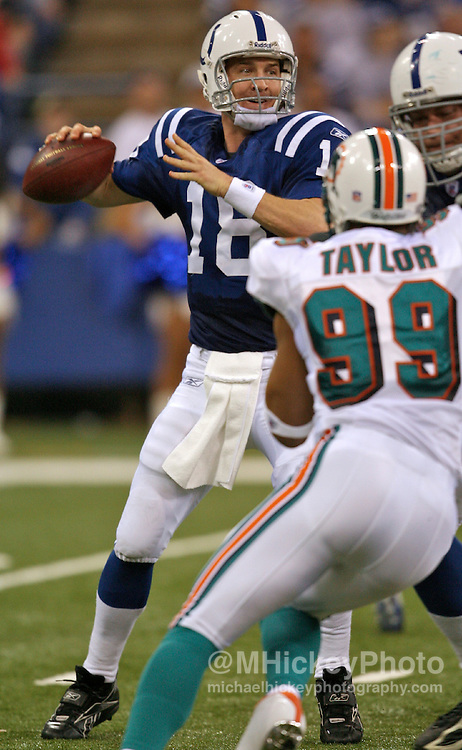 WireImage #12050497--Indianapolis Colts quarterback Peyton Manning seen during action against the Miami Dolphins at the RCA Dome in Indianapolis, Indiana on December 31, 2006.
