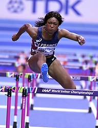 March 2, 2018 - Birmingham, United Kingdom - ANTOINETTE NANA DJIMOU of France in action during the 60-meter hurdles portion of the women's pentathlon at the IAAF Indoor World Championships in Birmingham, United Kingdom. (Credit Image: © Panoramic via ZUMA Press)