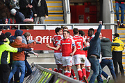 Rotherham United player Michael Smith (24) celebrates scoring goal with Rotherham United fans and Rotherham united players to go 1-1 during the EFL Sky Bet League 1 match between Rotherham United and Doncaster Rovers at the AESSEAL New York Stadium, Rotherham, England on 24 February 2018. Picture by Ian Lyall.