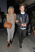 09.JUNE.2012. LONDON<br /> <br /> PIXIE LOTT AND OLIVER CHESHIRE WHO HAS LIPSTICK ON HIS FACE LEAVING CIRQUE DE SOIR NIGHT CLUB IN SOHO AT 5.00AM LOOKING WORSE FOR WEAR.<br /> <br /> BYLINE: EDBIMAGEARCHIVE.CO.UK<br /> <br /> *THIS IMAGE IS STRICTLY FOR UK NEWSPAPERS AND MAGAZINES ONLY*<br /> *FOR WORLD WIDE SALES AND WEB USE PLEASE CONTACT EDBIMAGEARCHIVE - 0208 954 5968*