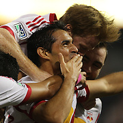 Fabian Espindola, New York Red Bulls, celebrates after scoring his sides first goal during the New York Red Bulls V New England Revolution, Major League Soccer regular season match at Red Bull Arena, Harrison, New Jersey. USA. 5th October 2013. Photo Tim Clayton