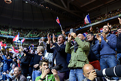 21.11.2014, Stade Pierre Mauroy, Lille, FRA, Davis Cup Finale, Frankreich vs Schweiz, im Bild Frankreich Fans jubeln // during the Davis Cup Final between France and Switzerland at the Stade Pierre Mauroy in Lille, France on 2014/11/21. EXPA Pictures © 2014, PhotoCredit: EXPA/ Freshfocus/ Valeriano Di Domenico<br /> <br /> *****ATTENTION - for AUT, SLO, CRO, SRB, BIH, MAZ only*****
