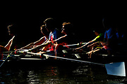 (EDITORS NOTE: Multiple exposures were combined in camera to produce this image.) Members of Favorite Men's Club Eights team compete during the Head of the Charles Regatta on October 21, 2017 in Boston, Massachusetts.