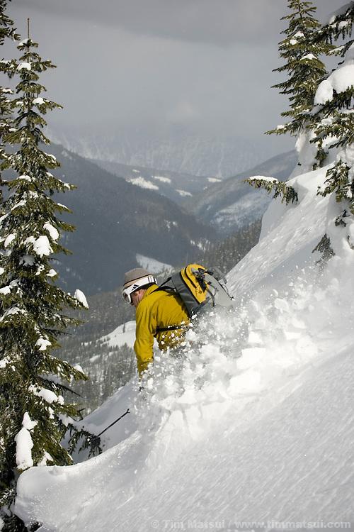 Back country ski touring near Steven's Pass, Washington.
