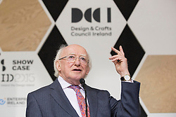 Repro Free: 18/01/2015<br /> Pictured at the opening of Showcase 2015, Ireland&rsquo;s largest international trade fair, is President of Ireland Michael D. Higgins. Showcase runs in the RDS until Wednesday, 21st January.  Picture Andres Poveda