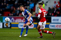 Alfie Kilgour of Bristol Rovers takes on Dan Barlaser of Rotherham United - Mandatory by-line: Robbie Stephenson/JMP - 18/01/2020 - FOOTBALL - Aesseal New York Stadium - Rotherham, England - Rotherham United v Bristol Rovers - Sky Bet League One