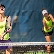 August 20, 2016, New Haven, Connecticut: <br /> Nika Kukharchuk and Alexandra Perper in action during a US Open National Playoffs match at the 2016 Connecticut Open at the Yale University Tennis Center on Saturday, August  20, 2016 in New Haven, Connecticut. <br /> (Photo by Billie Weiss/Connecticut Open)