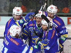 15.02.2013, Albert Schultz Eishalle, Wien, AUT, EBEL, UPC Vienna Capitals vs EC VSV, 7. Platzierungsrunde, im Bild Torjubel Mario Altmann, (EC VSV, #41), Benjamin Petrik, (EC VSV, #21), Patrick Platzer, (EC VSV, #39), Derek Damon, (EC VSV, #10) und Daniel Nageler, (EC VSV, #16) // during the Erste Bank Icehockey League 7th placement Round match betweeen UPC Vienna Capitals and EC VSV at the Albert Schultz Ice Arena, Vienna, Austria on 2013/02/15. EXPA Pictures © 2013, PhotoCredit: EXPA/ Thomas Haumer