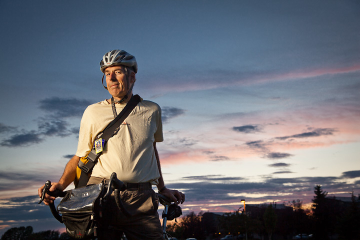 Alaska Airlines pilot, Rick Zimmer, on his bicycle, returning home from the airport after a quick round-trip flight to Seattle.