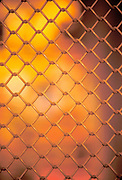 Chain link fencing.