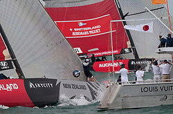 Auckland New zealand, Louis Vuitton Pacific Series racing day 1 Greek Challenge - Alinghi winner Alinghi, Greek team got 1 penalty in the prestart, Helmsman Alinghi Ed Baird, Greek Challende Gavin Brady