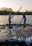 Caversham, Reading, Great Britain,  GBR W2- left Helen GLOVER and Heather STANNING, boating to compete at the    GBRowing Training Session, Water and Gym/Ergo, at the National Training Base, Berkshire, England.<br /> <br /> Wednesday  18/11/2015<br /> <br /> [Mandatory Credit; Peter Spurrier/Intersport-images]