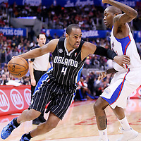 06 January 2014: Orlando Magic shooting guard Arron Afflalo (4) drives past Los Angeles Clippers shooting guard Jamal Crawford (11) during the Los Angeles Clippers 101-81 victory over the Orlando Magic at the Staples Center, Los Angeles, California, USA.