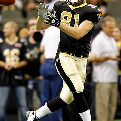 September 1, 2011; New Orleans, LA, USA; New Orleans Saints tight end Mike Higgins (81) during warm ups prior to kickoff of a preseason game against the Tennessee Titans at the Louisiana Superdome. The Titans defeated the Saints 32-9. Mandatory Credit: Derick E. Hingle