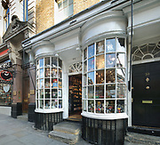 Oldest shop in London, previously a snuff seller, at 34 Haymarket, Piccadilly, London, England, UK. The building dates to the mid 18th century, and the shop has 2 protruding bay windows. To the right is a door leading to the accommodation above. The original tobacconists, Fribourg & Treyer, occupied the shop from 1754 until 1982, and it is now a gift shop. Picture by Manuel Cohen
