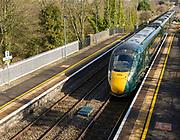 GWR Intercity Express train arriving at platform Pewsey railway station, Wiltshire, England, UK - West Coast Main Line