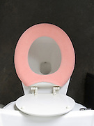 Overhead view of toilet with pink fabric seat warmer.