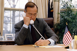 United States President George H.W. Bush speaks on the telephone with Russian President Boris Yeltsin from the Oval Office of the White House in Washington, DC on December 13, 1991. Photo by Susan Biddle / White House via CNP/ABACAPRESS.COM