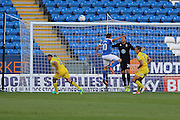 Peterborough United striker Paul Taylor (10) goes close during the EFL Cup match between Peterborough United and AFC Wimbledon at ABAX Stadium, Peterborough, England on 9 August 2016. Photo by Stuart Butcher.