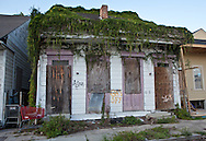 blighted home overgrown with weeds in New Orleans  nearly seven years after Hurricane Katrina.