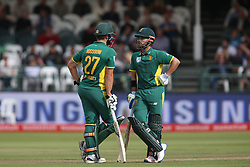 Rilee Rossouw of South Africa and JP Duminy of South Africa between overs during the 5th ODI match between South Africa and Australia held at Newlands Stadium in Cape Town, South Africa on the 12th October  2016<br /> <br /> Photo by: Shaun Roy/ RealTime Images