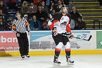 KELOWNA, CANADA, OCTOBER 26: Daniel Gibb #2 of the Prince George Cougars skates on the ice as Prince George Cougars visit the Kelowna Rockets  on October 26, 2011 at Prospera Place in Kelowna, British Columbia, Canada (Photo by Marissa Baecker/Shoot the Breeze) *** Local Caption *** Daniel Gibb;