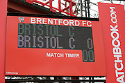 Error with the scoreboard during the Sky Bet Championship match between Brentford and Bristol City at Griffin Park, London, England on 16 April 2016. Photo by Matthew Redman.