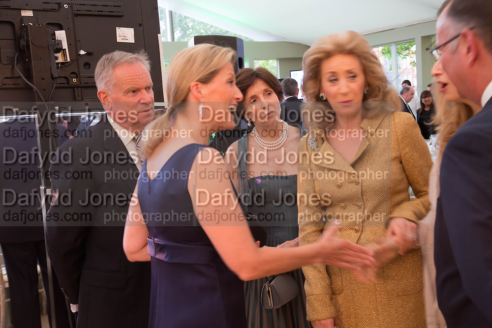 JEFFREY ARCHER; SOPHIE COUNTESS OF WESSEX; MARY ARCHER; LADY WOLFSON, Art Antiques London Party in the Park, in aid of Great Ormond Street Hospital Childrens Charity. Kensington Gdns opposite the Albert Hall. London. 11 June 2013.