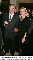 SIR TIM & LADY BELL, he heads the leading PR firm, at a party in London on November 5th 1996.  LTG 55