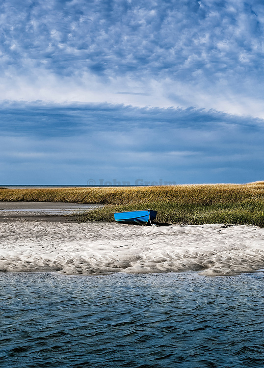 Rustic rowboat, Boat Meadow Creek, Orleans, Cape Cod,  Massachusetts, USA.