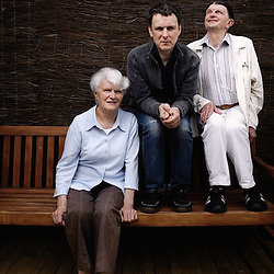"""Director Michel Gondry, here with his aunt Suzette and an other actor, presenting his movie """"The Thorn in the Heart"""" at the Cannes Film Festival (here at the Unifrance Terrasse). France. 15 May 2009. Photo: Antoine Doyen"""
