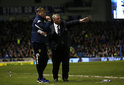 Leeds United manager, Steve Evans and Leeds United assistant manager, Paul Raynor during the Sky Bet Championship match between Brighton and Hove Albion and Leeds United at the American Express Community Stadium, Brighton and Hove, England on 29 February 2016.
