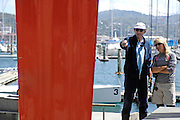 Michèle Paret and Dominique Wavre take a look at the keel as Temenos 2 is hauled out of the water in Wellington. Barcelona World Race. 2/1/2008