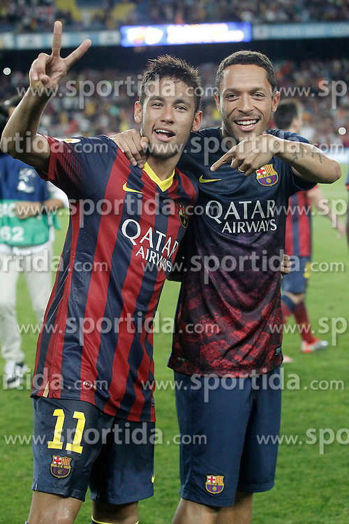 28.08.2013, Camp Nou, Barcelona, ESP, Supercup, FC Barcelona vs Atletico Madrid, Rueckspiel, im Bild FC Barcelona's Neymar Santos Jr (l) and Adriano Correia celebrate the victory in the Supercup // during second leg match of the Spanish Supercup match between Barcelona FC and Atletico Madrid at the Camp Nou in Barcelona, Spain on 2013/08/28. EXPA Pictures &copy; 2013, PhotoCredit: EXPA/ Alterphotos/ Acero<br /> <br /> ***** ATTENTION - OUT OF ESP and SUI *****