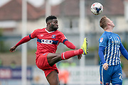 Jabo Ibehre (Carlisle United) fails to get onto the end of a long pass down the centre of the pitch during the EFL Sky Bet League 2 match between Hartlepool United and Carlisle United at Victoria Park, Hartlepool, England on 14 April 2017. Photo by Mark P Doherty.