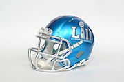 General overall view of Super Bowl LII logo helmet. The Philadelphia Eagles will play the New England Patriots in Super Bowl LII on Sunday, Feb. 4, 2018 in the 52nd meeting between the AFC and the NFC Champions.