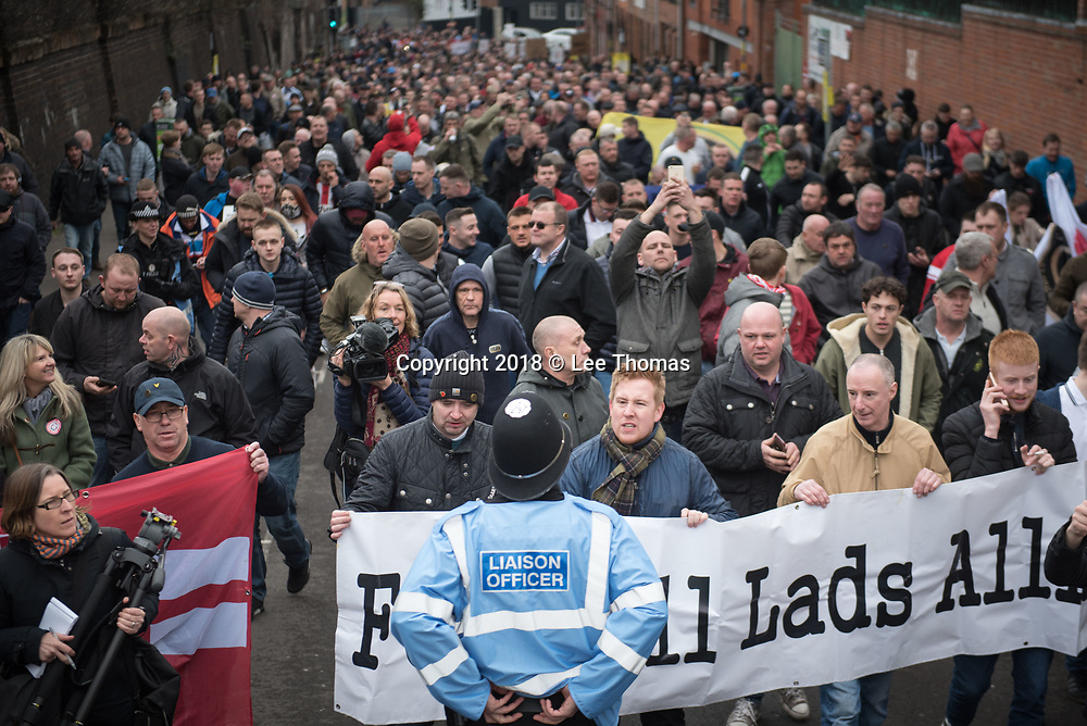 Birmingham, West Midlands, UK. 24th March 2018. Thousands of demonstrators converge on Birmingham city centre organised by three individual groups: Football Lads Alliance (FLA), Democratic Football Lads Alliance (DFLA) and Stand Up To Racism.  Pictured: John Meighan (blue jacket) - founder the FLA, heads the FLA march.  // Lee Thomas, Tel. 07784142973. Email: leepthomas@gmail.com  www.leept.co.uk (0000635435)