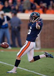 Virginia punter Ryan Weigand (16)..The Virginia Cavaliers defeated the Connecticut Huskies 17-16 at Scott Stadium in Charlottesville, VA on October 13, 2007