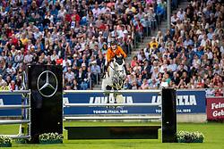 VAN DER VLEUTEN Maikel (NED), Dana Blue<br /> Aachen - CHIO 2019<br /> Mercedes-Benz Nationenpreis<br /> Mannschaftsspringprüfung mit zwei Umläufen<br /> 2. Runde/Second Round<br /> 18. Juli 2019<br /> © www.sportfotos-lafrentz.de/Stefan Lafrentz