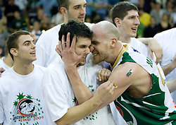 Saso Ozbolt and Marko Maravic celebrate at third finals basketball match of Slovenian Men UPC League between KK Union Olimpija and KK Helios Domzale, on June 2, 2009, in Arena Tivoli, Ljubljana, Slovenia. Union Olimpija won 69:58 and became Slovenian National Champion for the season 2008/2009. (Photo by Vid Ponikvar / Sportida)