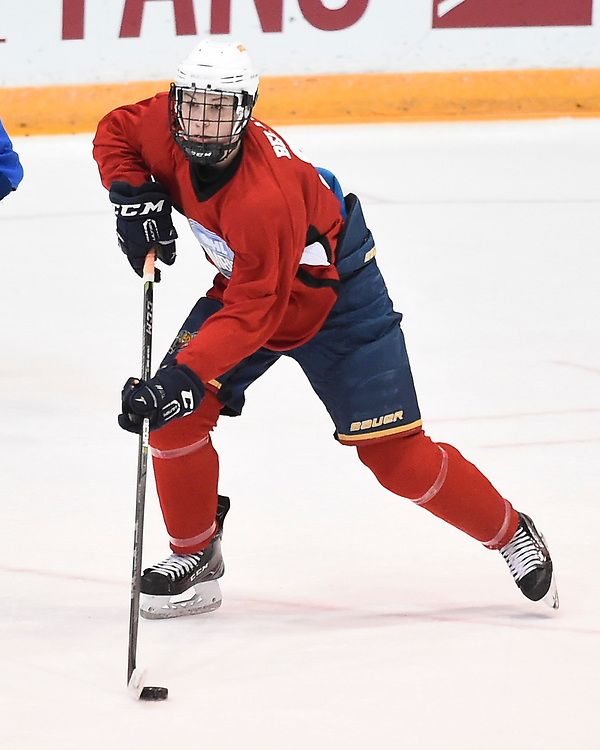 Alec Belanger of the Barrie Jr. Colts at the 2018 OHL Development Combine at the Tribute Communities Centre in Oshawa on Sunday March 25, 2018. Photo by Aaron Bell/OHL Images
