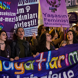March in Istiklal street in central Istanbul on International Women's day, March 8, 2017.<br /> On April 16, 2017, Turkish citizens will vote on proposed changes on the constitution that could replace the current parliamentary government system with a presidential one.