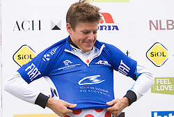 Jakob Fuglsang of Denmark (Team Saxo Bank) in blue jersey as the best rider in points classification at the flower ceremony at 3rd stage of Tour de Slovenie 2009 from Lenart to Krvavec, 175 km, on June 20 2009, Slovenia. (Photo by Vid Ponikvar / Sportida)