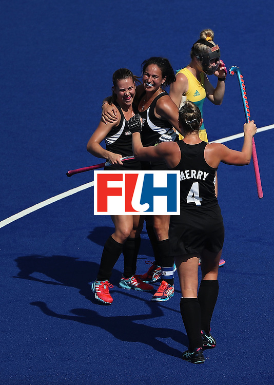 RIO DE JANEIRO, BRAZIL - AUGUST 15:  Rose Keddell #24, Kayla Whitelock #1 and Olivia Merry #4 of New Zealand celebrate after Kelsey Smith (not pictured) scored a first half goal against Australia during the quarter final hockey game on Day 10 of the Rio 2016 Olympic Games at the Olympic Hockey Centre on August 15, 2016 in Rio de Janeiro, Brazil.  (Photo by Christian Petersen/Getty Images)