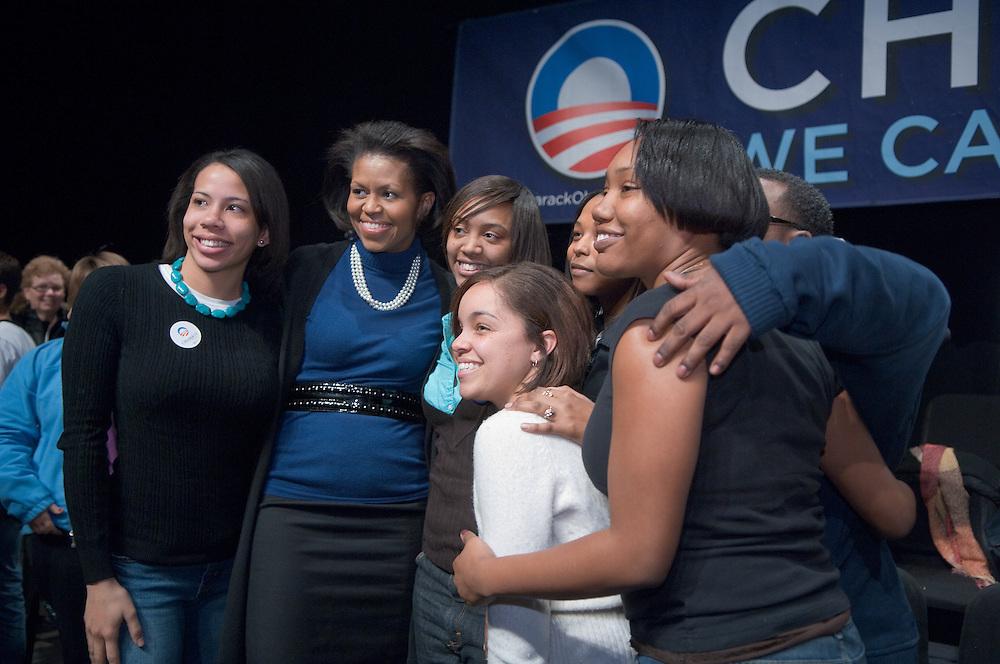 18582Mrs. Obama visits Ohio University at Templeton-Blackburn Memorial Auditorium on Feb. 28th, 2008...Mrs. Obama with Students